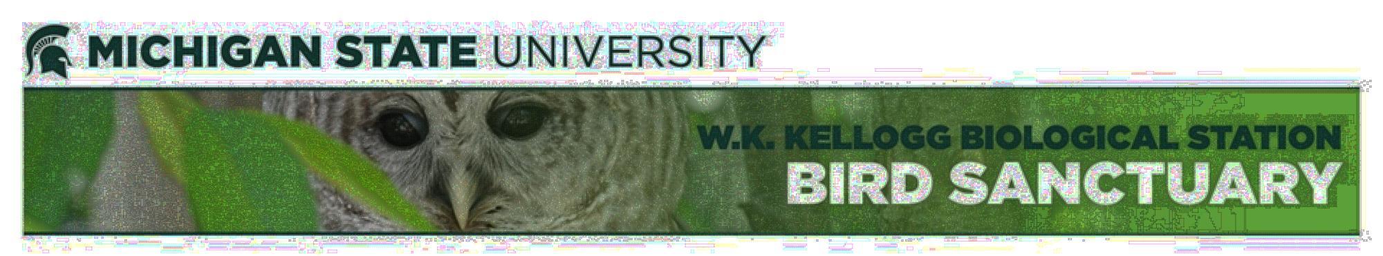 Michigan State University W.K. Kellogg Bird Sanctuary with image of a Barred Owl.