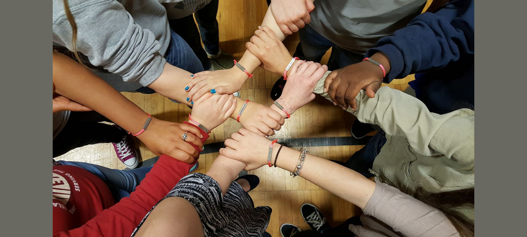 Images of arms with bracelets.