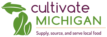 Cultivate Michigan: Supply, Source and Serve Local Food logo.