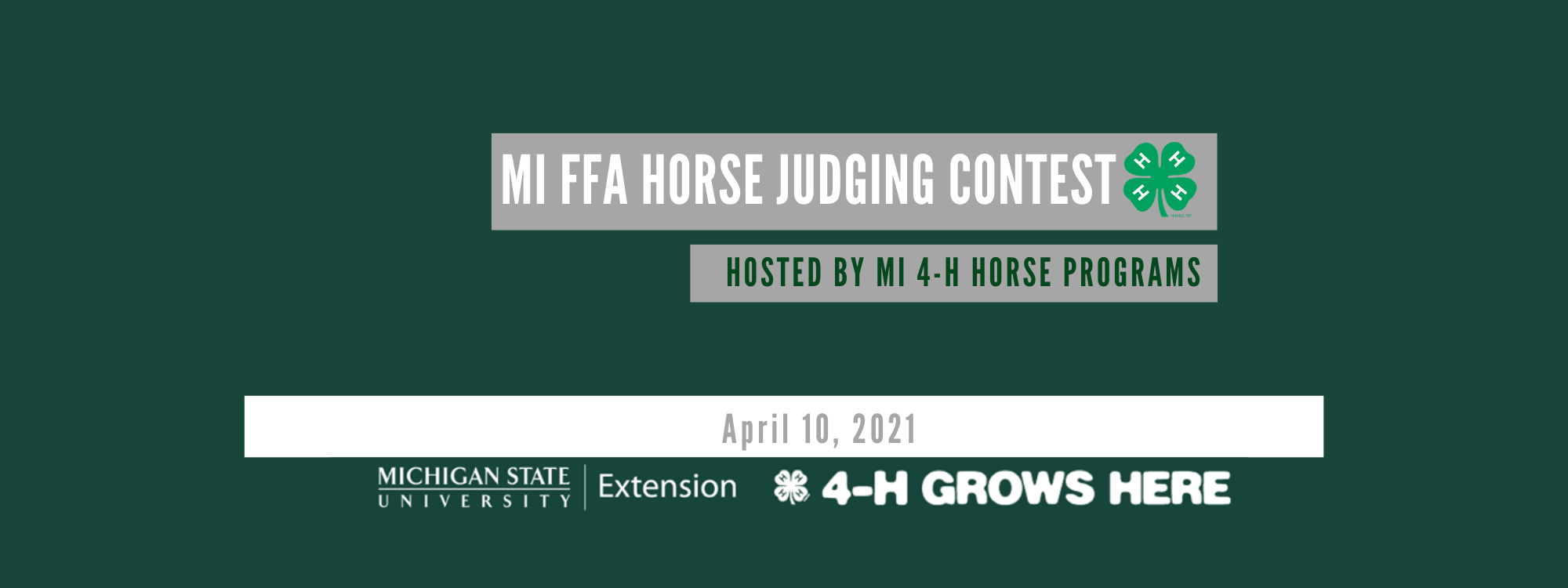 Michigan FFA Horse Judging Contest, hosted by Michigan 4-H Horse Programs logo.