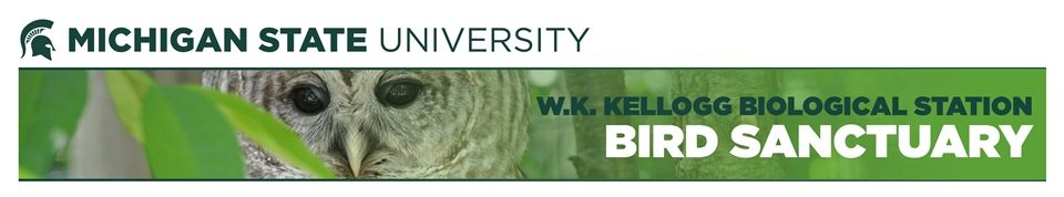 Michigan State University W.K. Kellogg Bird Sanctuary with image of a Barred Owl.