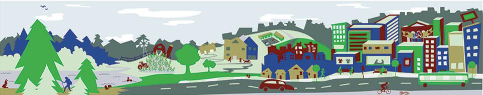 Cartoon image of a city scape.