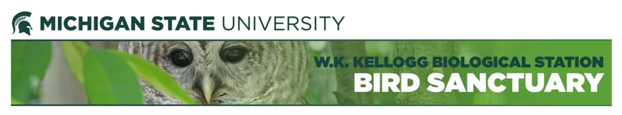 Michigan State University Kellogg Biological Station Kellogg Bird Sanctuary with image of Barred Owl.
