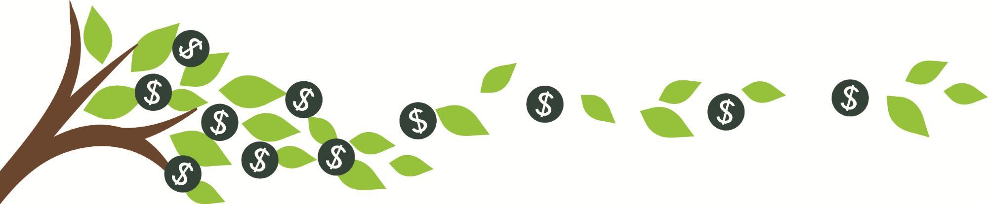 Green tree losing money leaves.