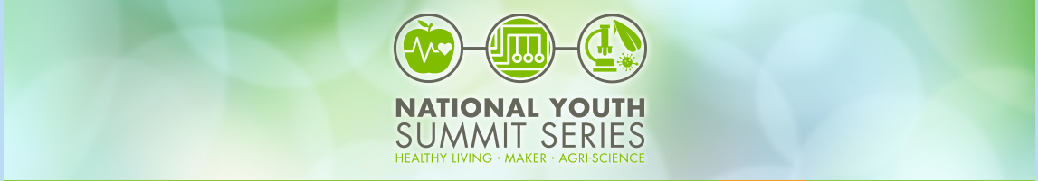 Picture of National Youth Summit Series banner with apple and microscope.