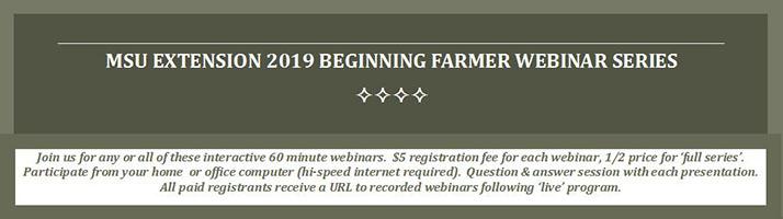 Beginning farmer webinar series logo.