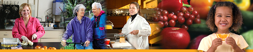 Images of adults and children cooking and eating healthy foods.